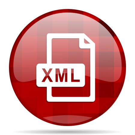 xml: xml file red round glossy modern design web icon Stock Photo