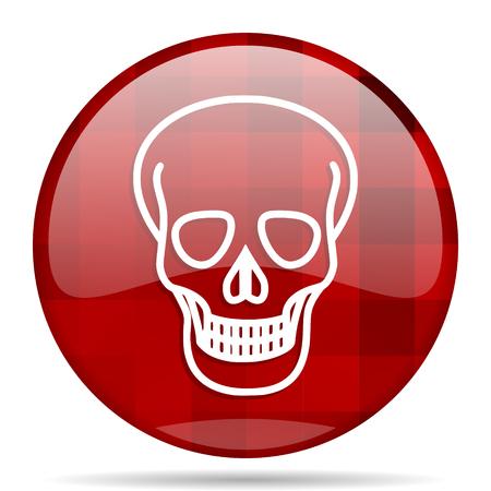 pirating: skull red round glossy modern design web icon