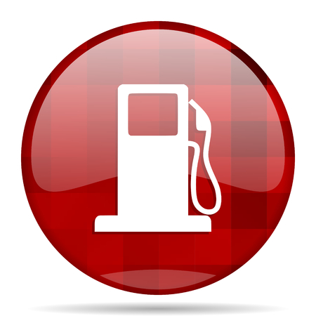 filling station: petrol red round glossy modern design web icon