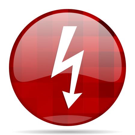 bolt red round glossy modern design web icon Stock Photo