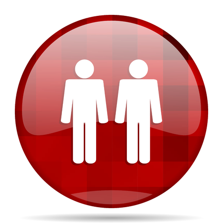 homosexual wedding: Gay couple red round glossy modern design web icon