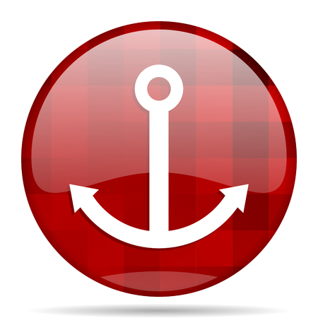 anchored: anchor red round glossy modern design web icon Stock Photo