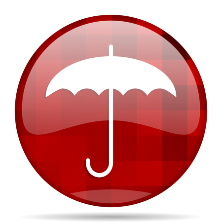 umbrella red round glossy modern design web icon