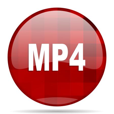 mp4: mp4 red round glossy modern design web icon