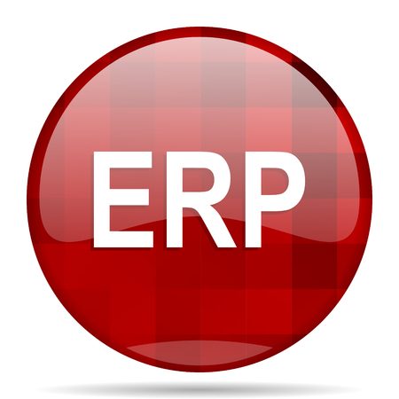 erp: erp red round glossy modern design web icon