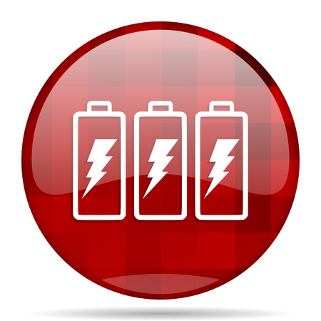 battery red round glossy modern design web icon Stock Photo