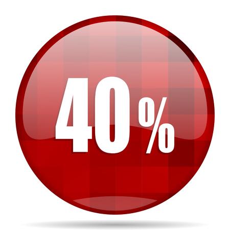 40 percent red round glossy modern design web icon