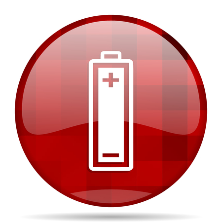 accuse: battery red round glossy modern design web icon Stock Photo