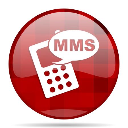 mms: mms red round glossy modern design web icon