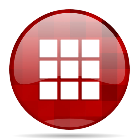 thumbnails: thumbnails grid red round glossy modern design web icon Stock Photo