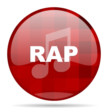 rap music red round glossy modern design web icon Stock Photo