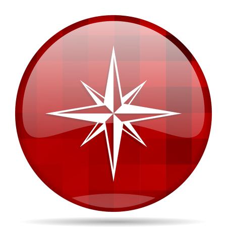 geodesy: compass red round glossy modern design web icon Stock Photo