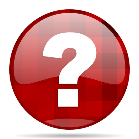 question mark red round glossy modern design web icon Stock Photo