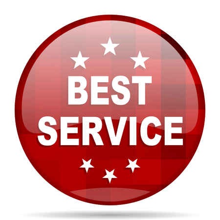 best service: best service red round glossy modern design web icon