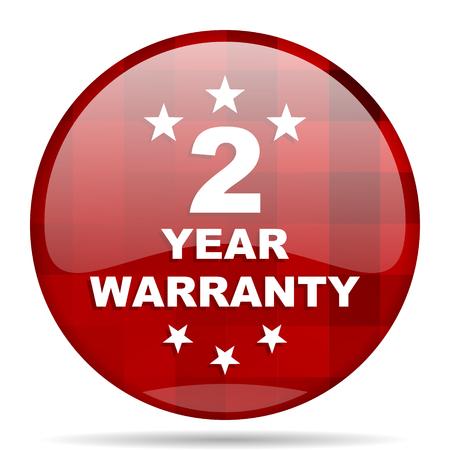 web 2: warranty guarantee 2 year red round glossy modern design web icon