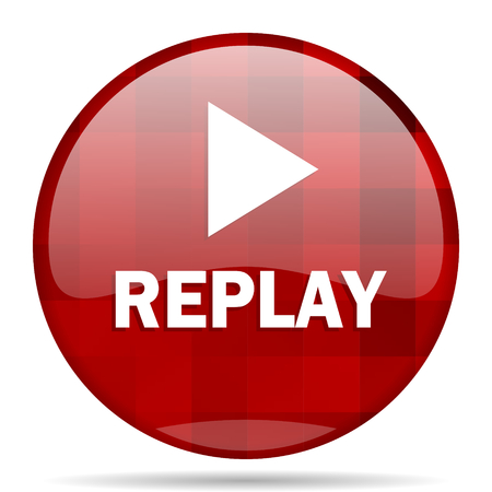 eject: replay red round glossy modern design web icon Stock Photo