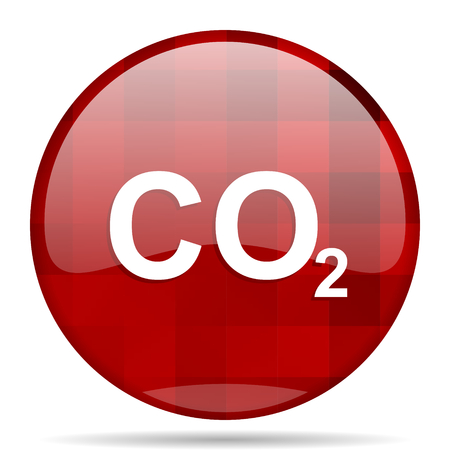 carbon dioxide: carbon dioxide red round glossy modern design web icon