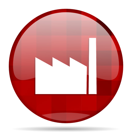 factory red round glossy modern design web icon Stock Photo