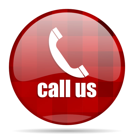 call us: call us red round glossy modern design web icon