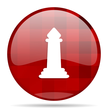 chess red round glossy modern design web icon Stock Photo