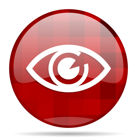 eye red: eye red round glossy modern design web icon Stock Photo