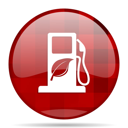 biofuel red round glossy modern design web icon
