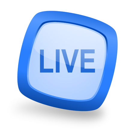 news cast: live blue glossy web design icon Stock Photo