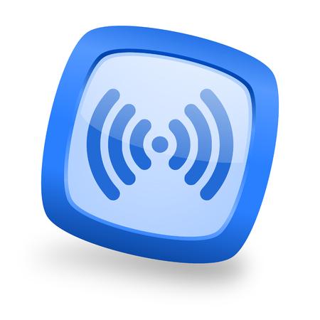 wifi blue glossy web design icon