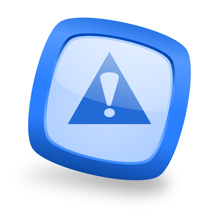 exclamation icon: exclamation sign blue glossy web design icon