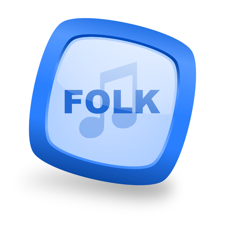 live stream radio: folk music blue glossy web design icon