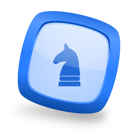 chess horse: chess horse blue glossy web design icon Stock Photo