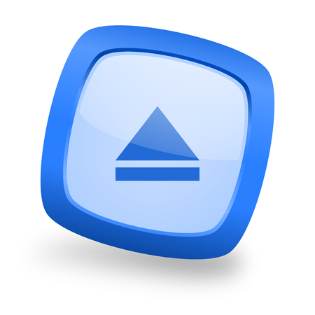 eject blue glossy web design icon