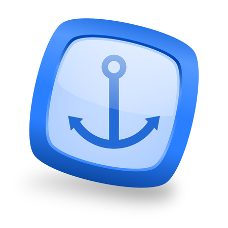 anchor blue glossy web design icon