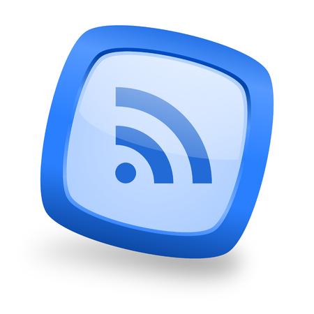 rss blue glossy web design icon Stock Photo