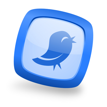 Bird blue glossy web design icon Stock Photo