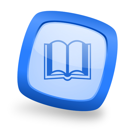 guestbook: book blue glossy web design icon Stock Photo