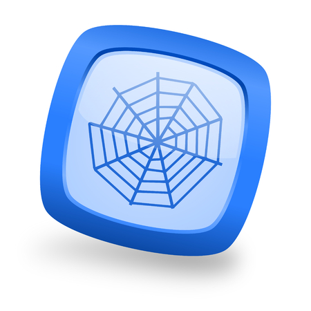 web: spider web blue glossy web design icon Stock Photo