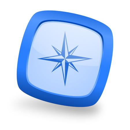 geodesy: compass blue glossy web design icon