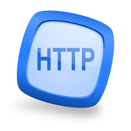 http: http blue glossy web design icon Stock Photo