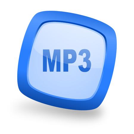 mp3 blue glossy web design icon