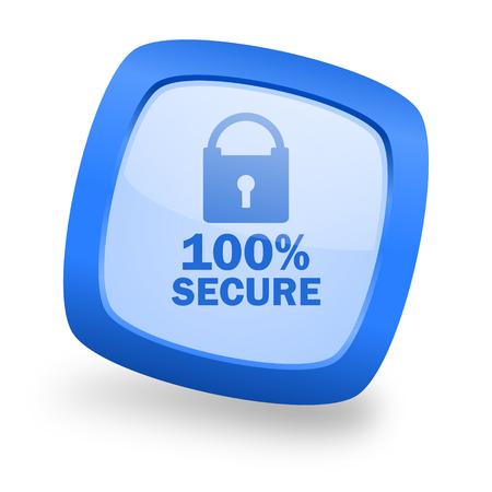 secure blue glossy web design icon