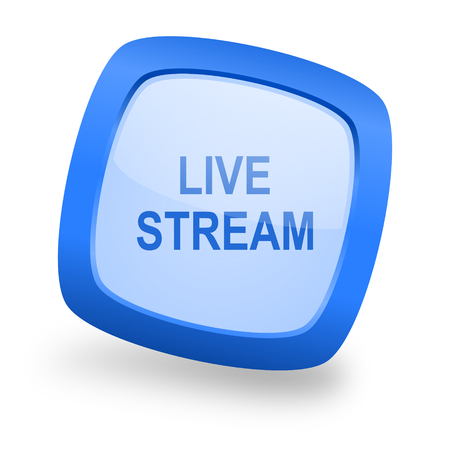 live stream: live stream blue glossy web design icon