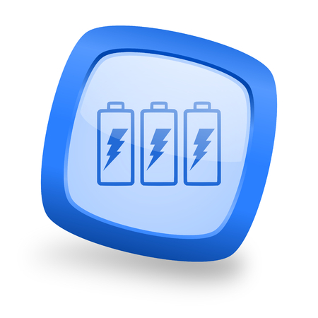 accuse: battery blue glossy web design icon
