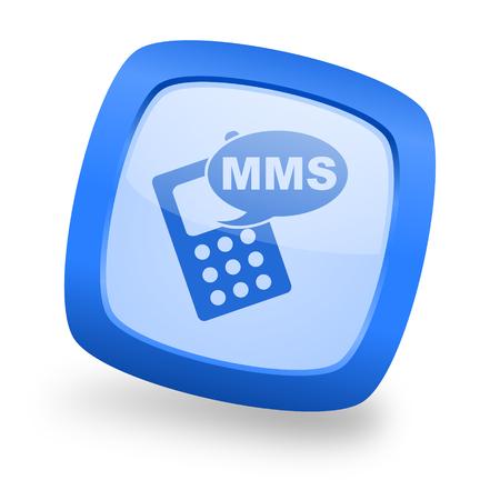 mms icon: mms blue glossy web design icon Stock Photo