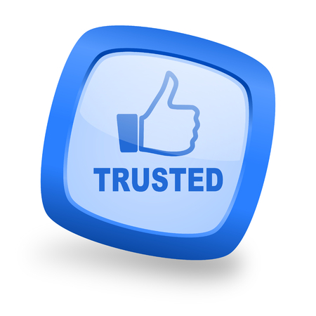 trusted: trusted blue glossy web design icon