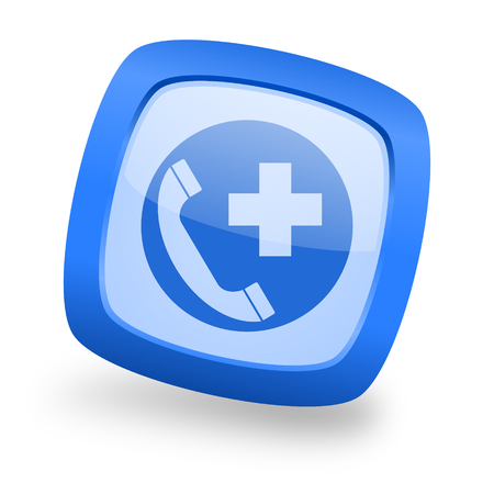 emergency call blue glossy web design icon