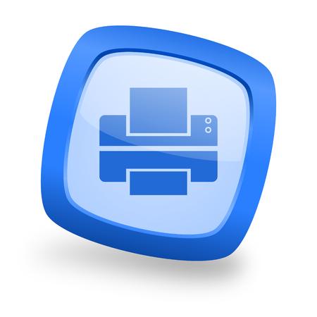 printer blue glossy web design icon
