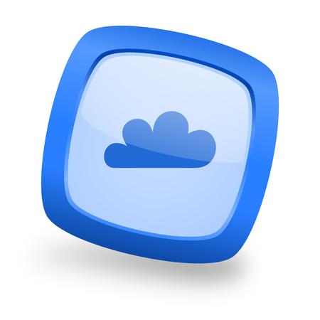 cloud blue glossy web design icon