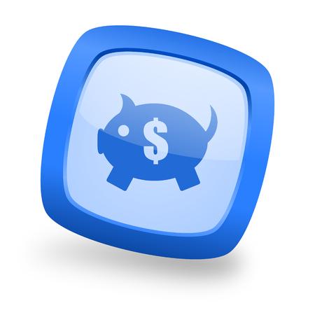 piggy bank blue glossy web design icon