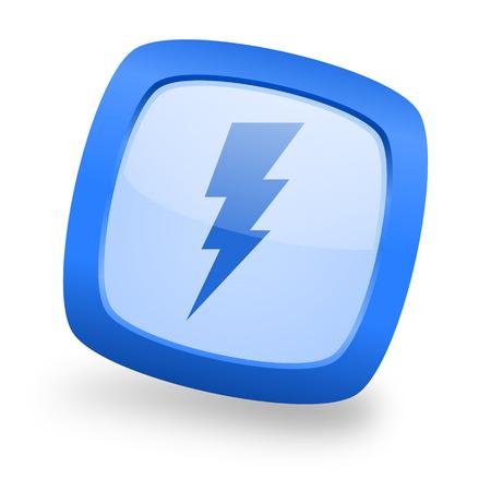 amperage: bolt blue glossy web design icon